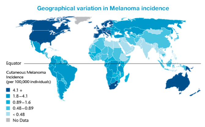 geographical variation in melanoma incidence